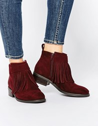 Asos Against The Wind Fringe Ankle Boots Red