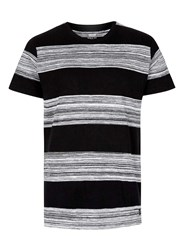 Topman Globe Black And Grey Distorted Stripe T Shirt White