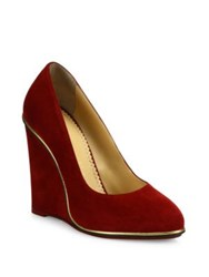 Charlotte Olympia Carmen Suede Wedge Pumps Burgundy