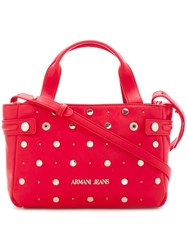 Armani Jeans Studded Medium Tote Red