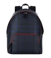 Burberry Shoes And Accessories Smoked Check Backpack Unisex Navy