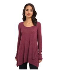Allen Allen L S Angled 2 Pocket Scoop Tunic Syra Women's Long Sleeve Pullover Red