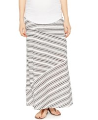 A Pea In The Pod Maternity Striped Maxi Skirt Black White Stripe