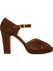 Chie Mihara Peep Toe Scalloped Sandals Brown