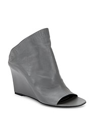Balenciaga Leather Peep Toe Wedge Booties Asphalt