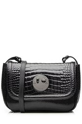 Hill And Friends Happy Mini Embossed Patent Leather Shoulder Bag Black