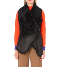 Drome Sleeveless Leather And Shearling Gilet Black