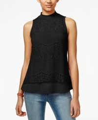 Self Esteem Juniors' Lace Mock Neck Top Black