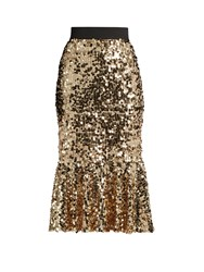 Dolce And Gabbana Sequin Embellished Midi Skirt Gold