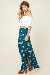 Forever 21 Floral Maxi Skirt Teal Amber