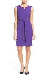 Ellen Tracy Women's Belted Sheath Dress Grape
