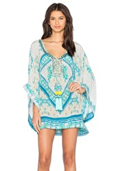 Rococo Sand Striped Paisley Embroidered Crepe Short Kaftan Turquoise