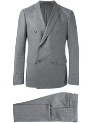 Pal Zileri Double Breasted Two Piece Suit Grey