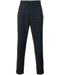 Etro Check Print Wool Blend Tapered Trousers Navy