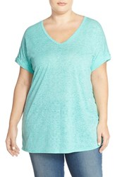 Plus Size Women's Sejour Sheer Jersey V Neck Tee Teal Ripple
