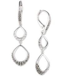 Judith Jack Sterling Silver Crystal And Marcasite Open Circle Double Drop Earrings