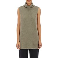 The Row Women's Leona Stockinette Stitched Wool Cashmere Turtleneck Sweater Dark Green