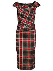 Jolie Moi Tartan Print Ruched Dress Green Red
