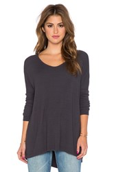 Michael Stars Side Slit High Low Tee Charcoal