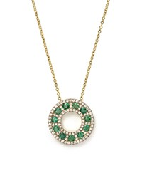Bloomingdale's Emerald And Diamond Circle Pendant Necklace In 14K Yellow Gold 17 Green Gold