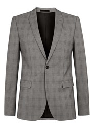 Topman Grey And Blue Check Ultra Skinny Fit Suit Jacket Mid Grey