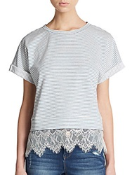 Wells Grace Striped Lace Paneled Dolman Tee Blue