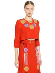 Peter Pilotto Cropped Embroidered Viscose Cady Top