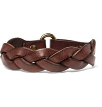 Polo Ralph Lauren Braided Leather Bracelet Brown