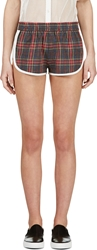 Filles A Papa Red And Blue Plaid Piped Kristen Shorts