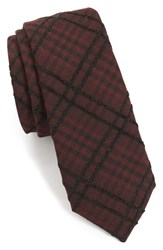 Alexander Olch Men's 'The Jack' Plaid Textured Cotton Tie Red Dark Red