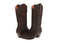 Stetson Lace Underlay Boot Distressed Brown Cowboy Boots