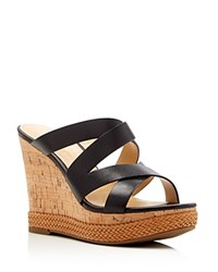 Ivanka Trump Harbie Cork Wedge Platform Sandals Black