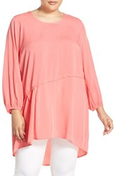 Melissa Mccarthy Seven7 Plus Size Women's Asymmetrical High Low Top Sunkist Coral
