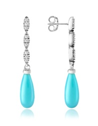 Del Gatto Diamond And Gemstone Drop Earrings Turquoise