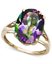 Macy's Mystic Topaz 7 1 6 Ct. T.W. And Diamond Accent Oval Ring In 14K Gold