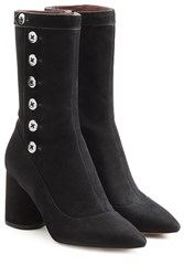 Marc Jacobs Suede Boots With Button Embellishment Black