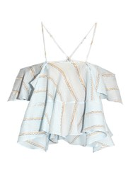 Rachel Comey Clearly Plunging Fluted Trim Jacquard Top Light Blue