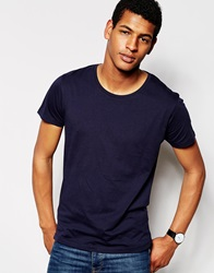 Selected Homme Crew Neck T Shirt In Pima Cotton Navy