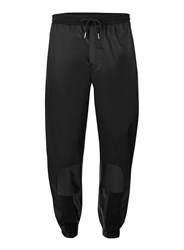 Topman Aaa Black Faux Leather Patch Slim Joggers