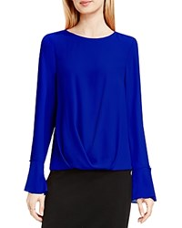 Vince Camuto Bell Cuff Fold Over Blouse Anchor Blue