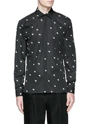Neil Barrett 'Hang Loose' Print Cotton Poplin Shirt Black