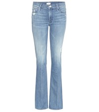 Mother The Runway Flared Denim Jeans Blue