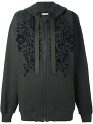 P.A.R.O.S.H. Embroidered Florals Zip Up Hoodie Green
