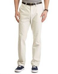 Nautica Flat Front Cotton Twill Pants White