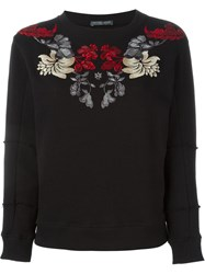 Alexander Mcqueen Floral Embroidered Sweatshirt Black