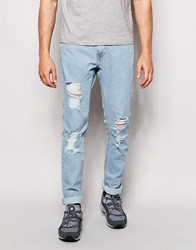 Pull And Bear Jeans In Slim Fit With Rips In Light Blue Light Blue