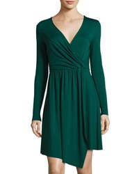 Three Dots Gabriella Faux Wrap Jersey Dress Eve Green