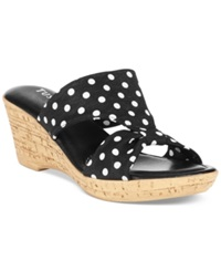 Easy Street Shoes Tuscany By Easy Street Arezzo Platform Wedge Sandals Women's Shoes Black Polka Dot