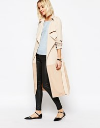 Paisie Two Tone Lightweight Trenchcoat With Draped Collar Tan
