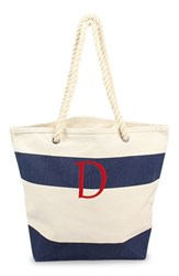 Cathy's Concepts Personalized Stripe Canvas Tote Blue Navy D